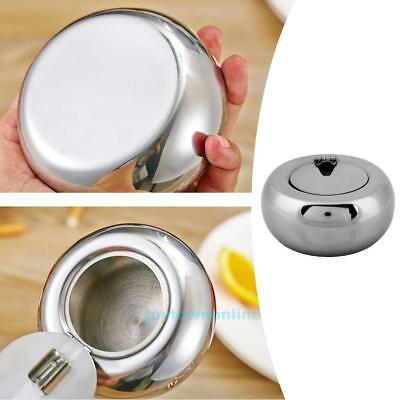 Large Drum Stainless Steel Ashtray Lid Cigarette Cigar Smoking Ash Tray Holder