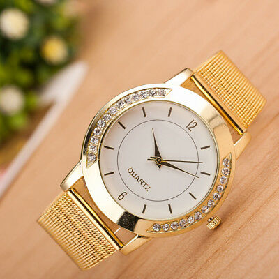 Fashion Women Crystal Golden Stainless Steel Analog Quartz Elegant Wrist Watch