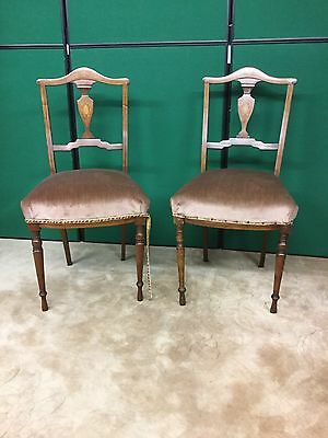 Antique Pair Of Inlaid Bedroom Chairs
