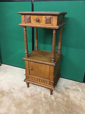 Antique Oak French Bedside Cabinet With Marble Top
