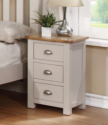 Sutton Painted Oak Bedside Table / Grey Solid Bedside Cabinet / 3 Drawers / New