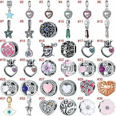 European Heart Beads Pendant Silver Charms Fit 925 sterling Necklace Bracelets