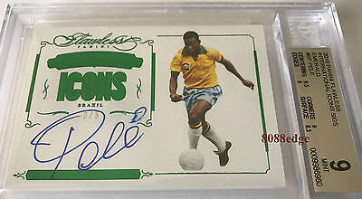 2016 Flawless International Icons Auto: Pele #3/5 On Card Autograph Bgs 9 Mint