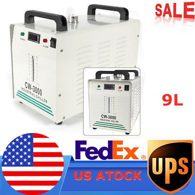 CW-3000 Industrial Water Chiller for Laser Engraver with 60W/ 80W CO2 Tube USA