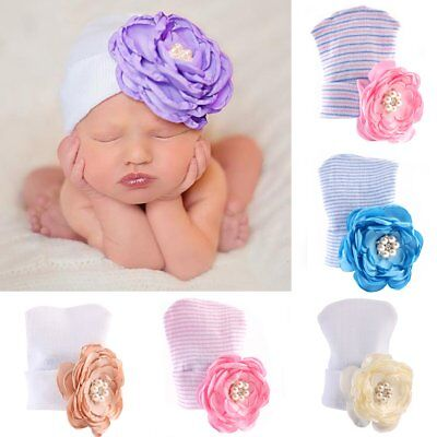 Cute Newborn Toddler Infant Baby Girl Flower Soft Cotton Hospital Cap Beanie Hat