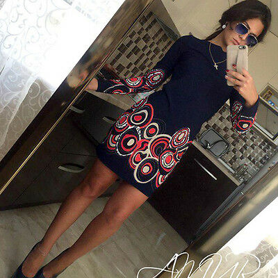 UK Fashion Women Long Sleeve Bodycon Casual Party Evening Cocktail Mini Dress