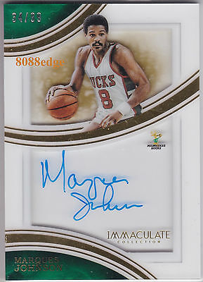 2015-16 Immaculate Shadowbox Auto:marques Johnson #34/99 On Card Autograph Bucks