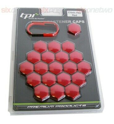 TPi 20 Red Alloy Wheel Nut Bolt Covers 17mm