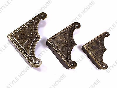 55 - 45 - 37mm VINTAGE STYLE CORNER BRACKET FURNITURE CHEST BOX PROTECTOR 4 PACK