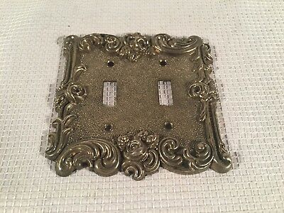 Vintage 1967 Brass/Gold American Tack & Hardware Double Switch Cover ~ Roses