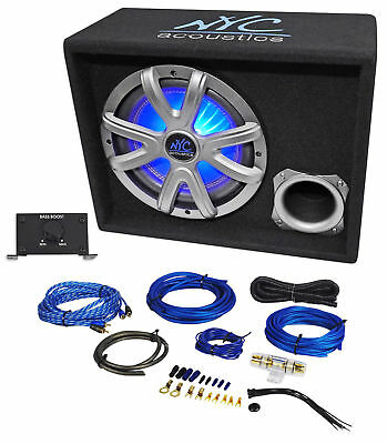 """NYC Acoustics NSE10L 10"""" 1000w Powered Car Subwoofer/LED Sub Enclosure+Wire Kit"""