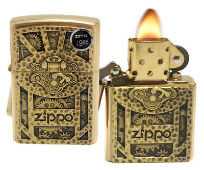 Zippo 29103 Steampunk Box Brushed Brass Emblem Windproof Pocket Lighter New