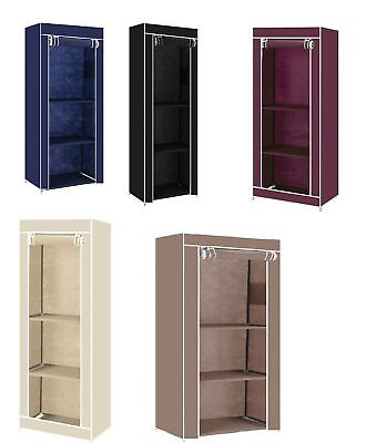 Single Fabric Canvas Clothes Wardrobe Cupboard Shelves Storage Organiser Hanging