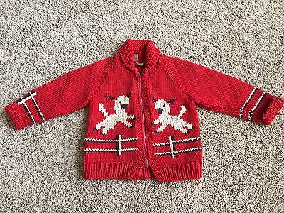VINTAGE 1950's/60's Cowichen Wool Children's Sweater Cardigan- Lambs