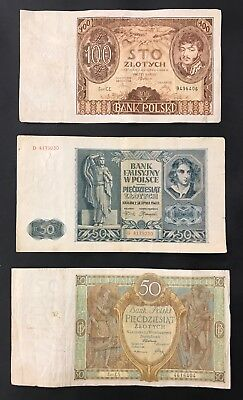 3 Polish Banknote Collection, Poland. 100, 50, 50 Zlotych. 1929 - 1941 (1271)