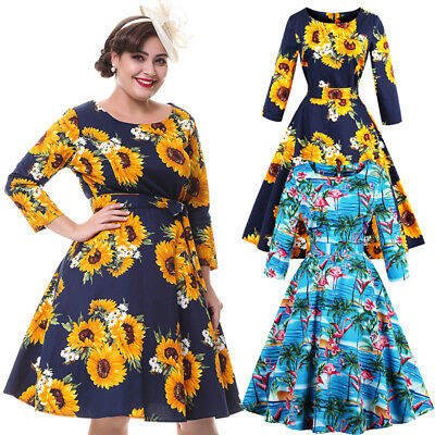 Retro Women's Floral Swing 1950s Housewife Pinup Vintage Rockabilly Party Dress