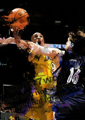BASKETBALL Art A4 - NBA Jordan BRYANT Kobi Jones etc.. PRINTS SIGNED Print 1/20