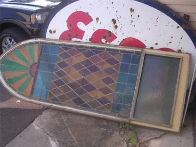 Large 3' x 9' Gothic Style Stained Leaded Glass Window with Frame Nice Condition