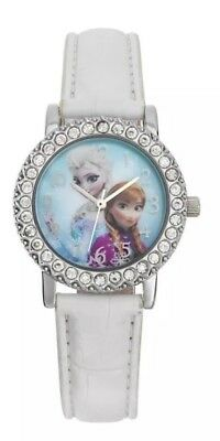 FROZ5 Frozen Crystal Dial White Strap Watch ELSA ANNA Xmas Snow Christmas Gift