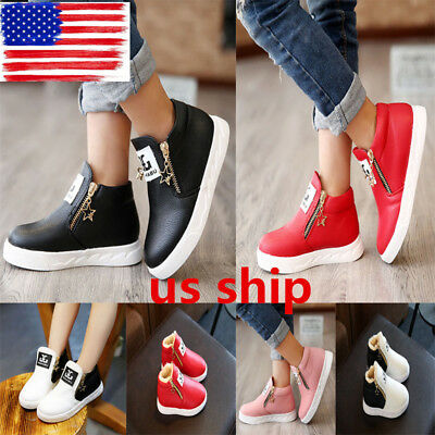 US Boys Girls Martin Ankle Boots Childrens Kids Stars Zipper Shoes Sneakers Size