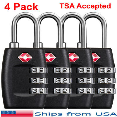 TSA Approved Cable Luggage Locks, Black 4 Pack, Three Digit Combination