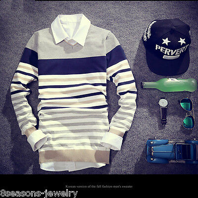Fashion Men Casual Slim Fit V-neck Knitted Cardigan Pullover Jumper Sweater Tops