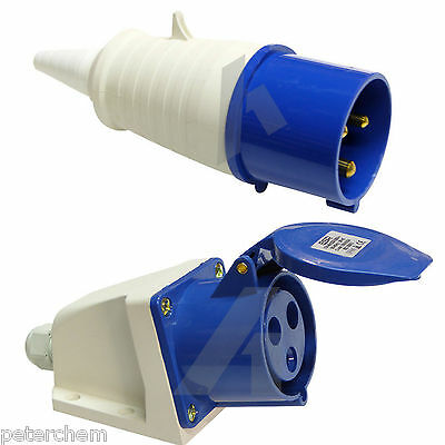 32 amp 3 pin plug & surface mount socket 240V waterproof IP44 32A 2P+E 1 phase