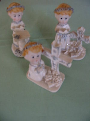 RELIGIOUS  BAPTISM COMMUNION , CONFIRMATION, RELIGIOUS BOY CAKE TOPPERS x 3