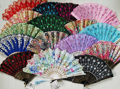 Beautiful Folding Ladies Hand Fan Victorian Civil War Fabric Sequins or Glitter