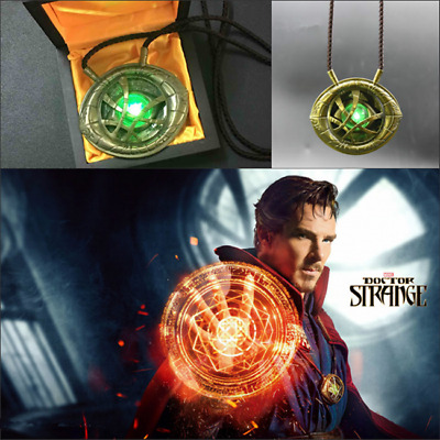 Dr Doctor Strange Eye of Agamotto Amulet Cosplay Accessory Luminous Necklace Cos