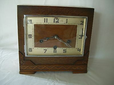 Large Square 1934 Art Deco Mantle Clock  with Westminster chime.