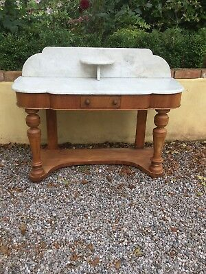 Antique Victorian Marble Top Console Table / Wash Stand