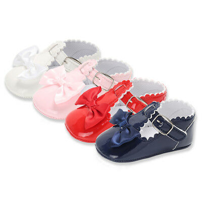 Newborn Infant Baby Girls Spanish Style Patent Pram Shoes Mary Jane Bowknot Shoe