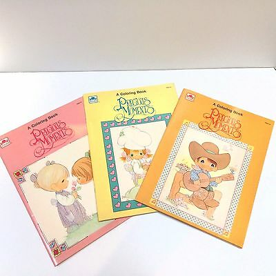 VTG PRECIOUS MOMENTS COLORING BOOK books LOT of 3 vintage Golden USA