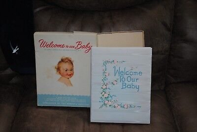 Welcome To Our Baby Memory Book Illustrated Unused Vintage 1950 w/ Original Box