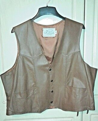 Brown Lariat Brand XXL Leather Western Vest Made in USA