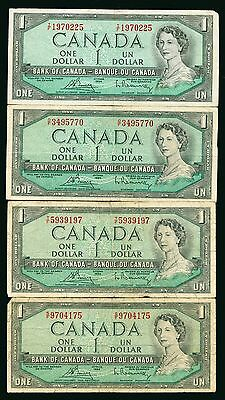 Lot of 9 1954 Bank of Canada $1 Dollar Notes #99163 R