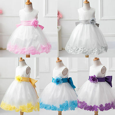Flower Girl's Kids Bow Princess Formal Party Pageant Prom Bridesmaid Tutu Dress