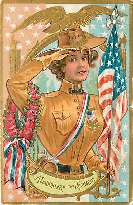 Patriotic~Daughter of Regiment Salutes~GAR Hat~Gold Eagle~Flags~Emboss~1911 PC