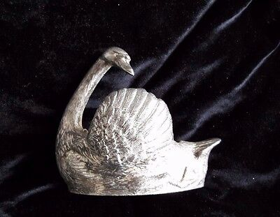 """Vintage Silver Plated SWAN Pin Cushion/Trinkets/paperweight made in England 5"""""""