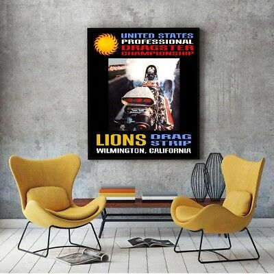 """Large Size 24""""x32"""" Lions US Professional Dragster Championship Event Poster"""