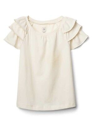 Baby Gap Girl Toddler Ruffle Sleeve Top T-shirt Tee Ivory Size 4T 4 Years NWT