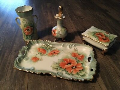 Hand Painted Poppies and Gilt Porcelain Dresser Trinket Set