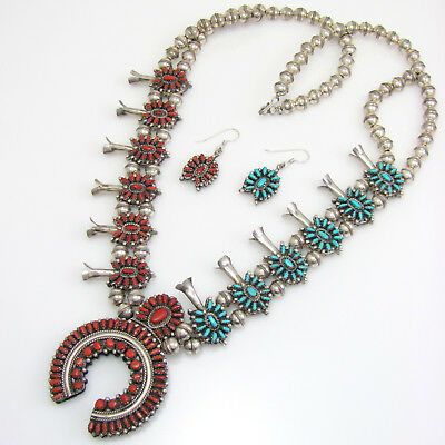Zuni 925 Silver Turquoise Coral Reversible Squash Blossom Necklace Earrings   G