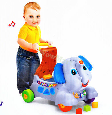 New Kid Toddler Gift 3 in 1 Baby Walker & Ride On Toy Elephant (A2033 Grey )