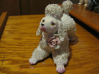 Spaghetti Poodle W/Gold Flecks, a Pink Rose, Excellent Condition