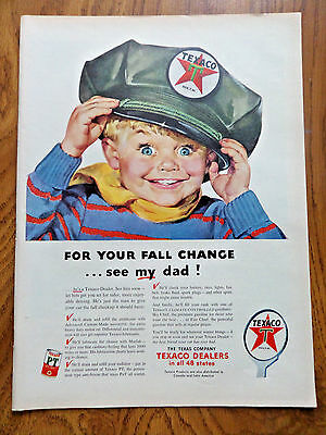 1953 Texaco Gasoline Ad Fall Change  See MY Dad 1953 Westinghouse Television Ad