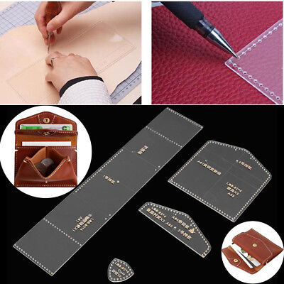 Wallet Leather Template Clear Acrylic Leather Pattern DIY Craft Tools 10cmx7.5cm