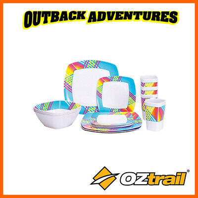 Oztrail Melamine Dinner Set 16 Piece - Camping Cooking