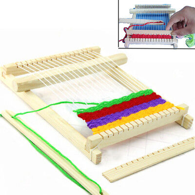Childrens Beginners Wooden Loom Weaving Knitting Kit Hand Craft Activity Toy